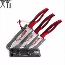 5pcs Set Ceramic Knife Set Red Flower Blade Slicing Utility Paring Kitchen Knife And A Peeler + Practical Knife Holder Hot Sale