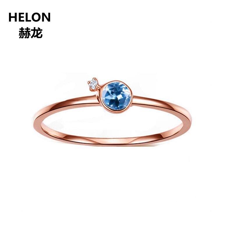 Solid 14 К розовое золото природных алмазов Обручение обручальное кольцо для Для женщин 3,5 мм круглый голубой топаз кольцо Fine ювелирные изделия