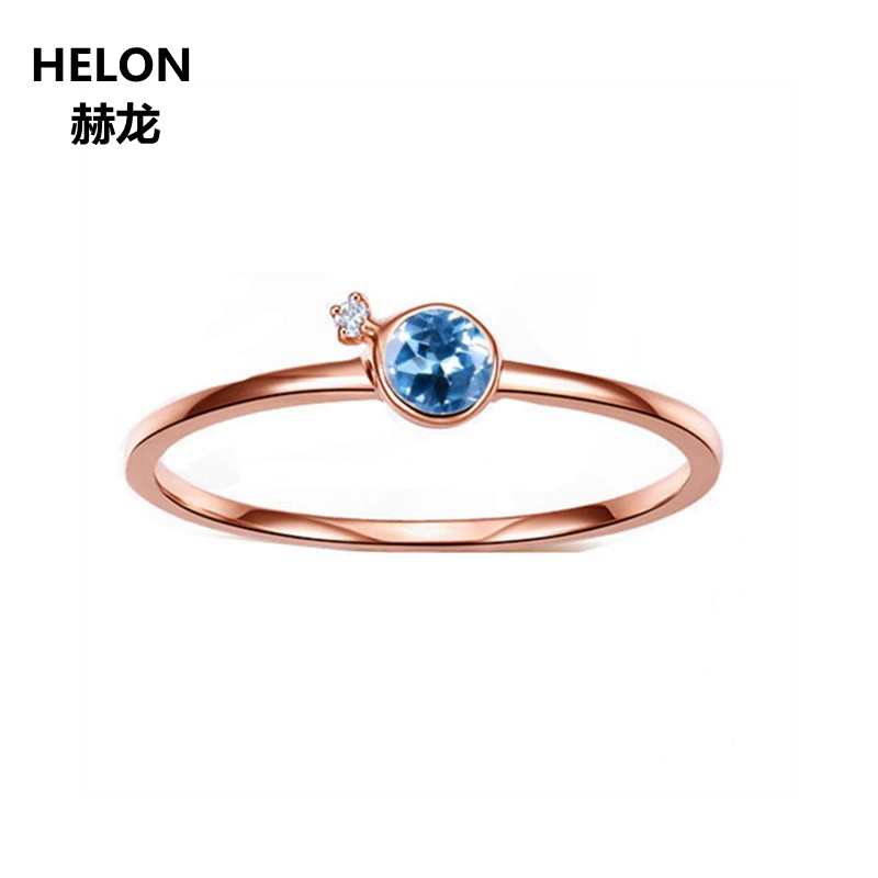 Solid 14K Rose Gold Natural Diamonds Engagement Wedding Ring for Women 3.5mm Round Sky Blue Topaz Ring Fine Jewelry solid 14k rose round 13mm gold diamond natural blue topaz ring wedding ring hot sale