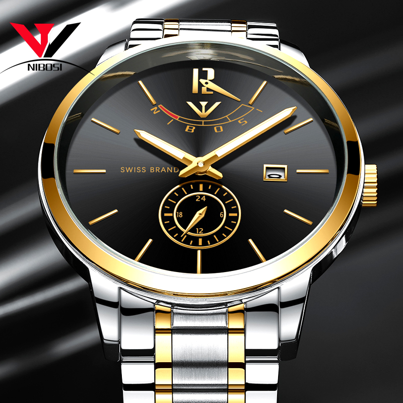 NIBOSI Mens Watch 2018 Luxury Brand Gold Watch Men Waterproof Analog Wristwatch Mens Stainless Steel Clock Men Reloj Hombre 2018 купить недорого в Москве