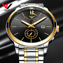 NIBOSI Mens Watch 2018 Luxury Brand Gold Men Waterproof Analog Wristwatch Stainless Steel Clock Reloj Hombre