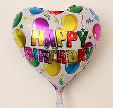 10 pcs lot 18 Inch Heart Shape Happy Birthday Helium Foil Balloons Birthday Party Holiday Decorations