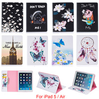 For Apple iPad 5 iPad5 Case Fashion Butterfly Flower Pattern Wallet Flip PU Leather Tablet Back Cover For iPad Air 9.7''