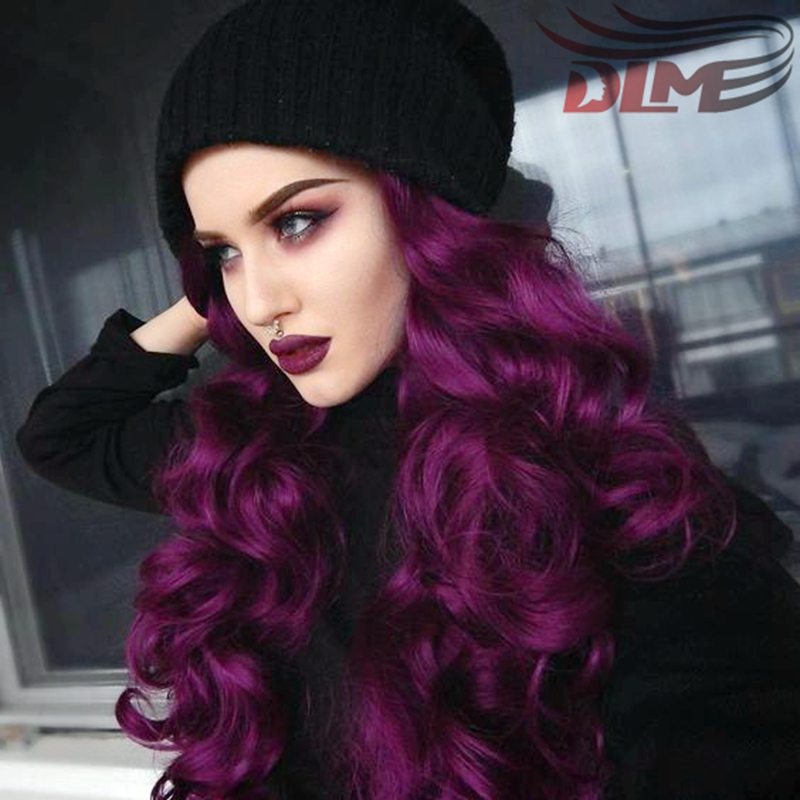ФОТО Fashion Syhthetic Wig For Women 26 Inch Beauty Purple Wigs With Black Roots Cheap Two Tone Ombre Color Body Wave Lace Front Wigs