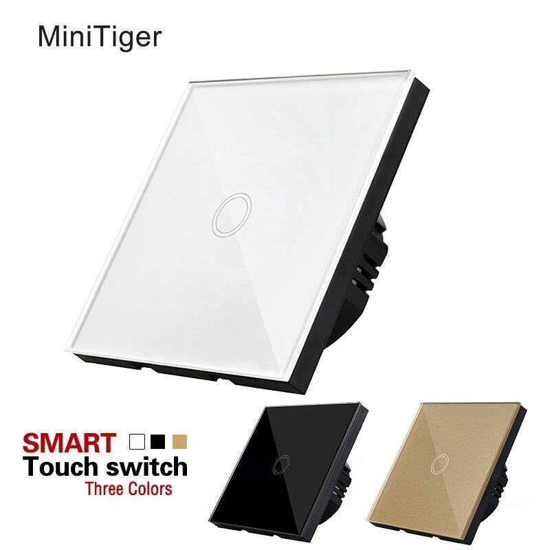 Minitiger eu standard touchscreen schalter weiß/schwarz/gold kristall glas-panel Intelligente home schalter für LED licht