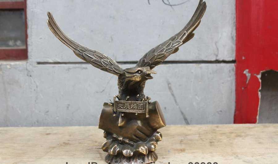 12 chinês Cobre Bronze escultura Feng Shui asas de Águia estátua escultura Art