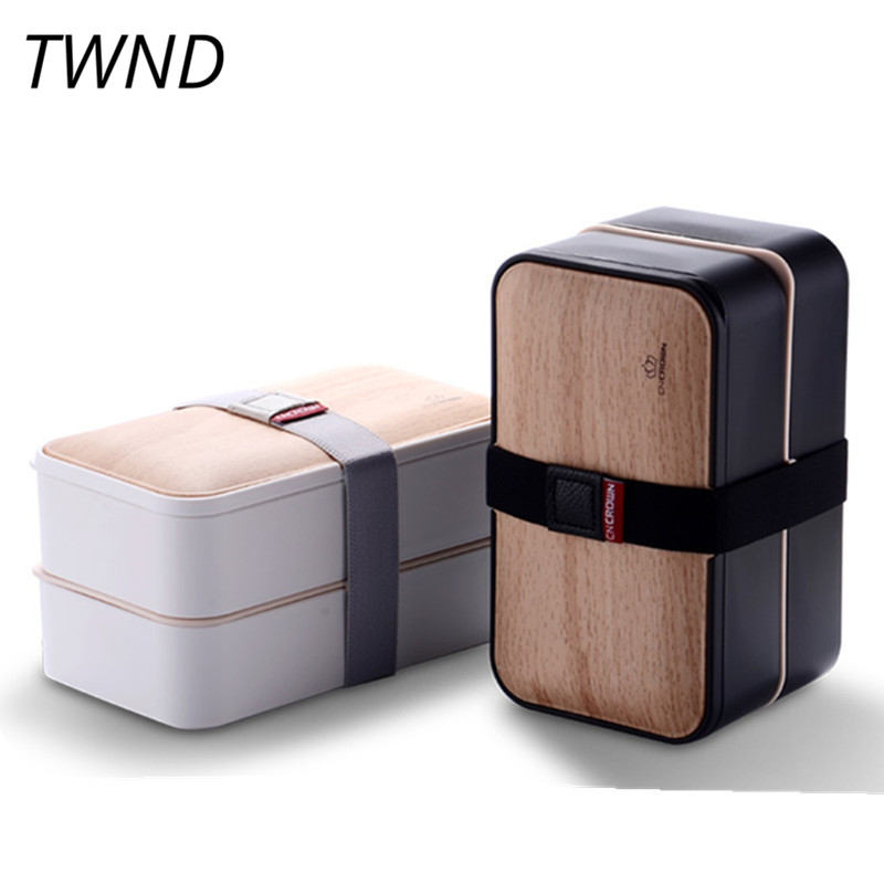 Japan style bento box PBT lunch box portable 2 layers microwaveble tableware with bags soup box