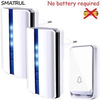SMATRUL Self Powered Wireless DoorBell Waterproof No Battery EU Plug Smart Cordless Door Bell 1 Button