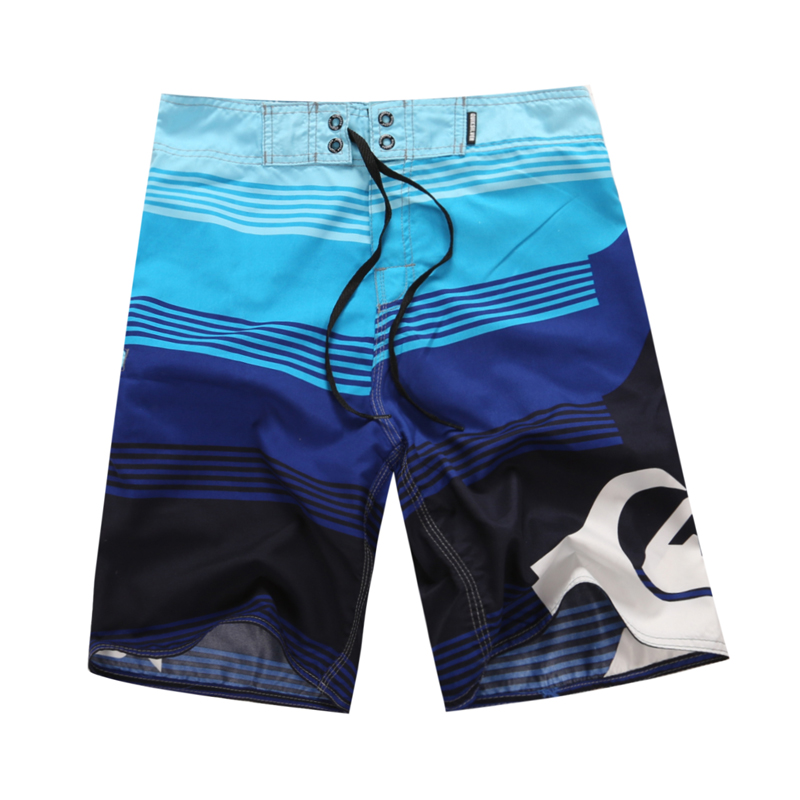 Hot Sale Mens Bermuda Printed Beach Board Shorts Quick Dry Silver Polyester Surf Shorts Blue Shorts Large Size 36 38 40