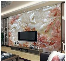 Free shopping 2015 New Seamless 3 d large jade carving mural lotus high-definition TV setting wall reliefs TV setting wall paper free shipping custom retro beautiful 3 d wallpaper ktv bars coffee tv setting wall paper