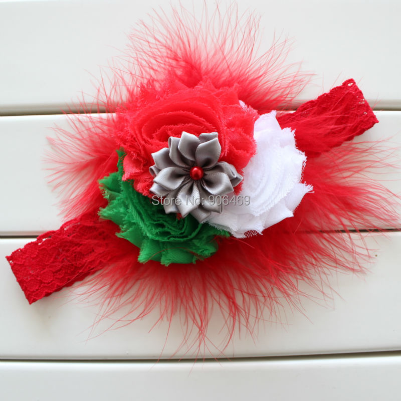 Christmas Gift Christmas flower headband feather shabby rose flower hairband headwear for gril kids accessories 1pcs