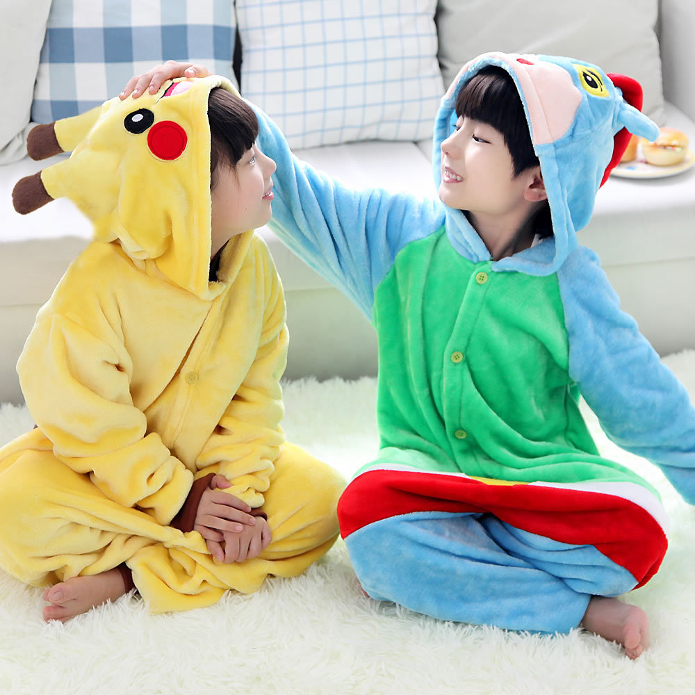 Kid's Kugurumi Onesie Animal Costume Flannel Soft Whole Pajama One Piece Boy Girl Child Pokemon Panda Pikachu Winter Sleep Suit