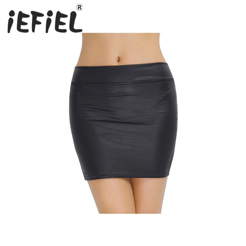 iEFiEL Fashion Women Faux Leather Zippered Soft Mini Skirt Nightwear Clubwear Skirt Performance Slim Nightwear Bodycon Clothes