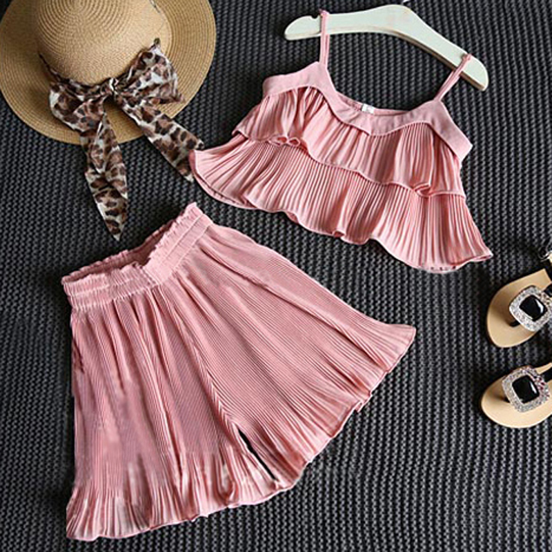 2017 Summer Girl Clothes Sets Sea Beach Children Chiffon Pleated Suspenders Tops Wide Pants Twinset Pink Kids Clothes Suits D25