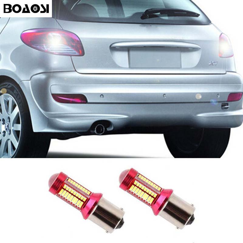 BOAOSI 2x 1156 P21W LED 4014 Chip Canbus backup reverse light lamp For peugeot 307 206 2008 207 308 4008 508 5008 for 301 2014 wljh 2x canbus 20w 1156 ba15s p21w led bulb 4014smd car backup reverse light lamp for bmw 228i 320i 328d 328i 335i m3 x1 x4 2015