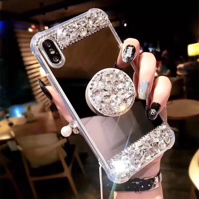XS Max Pop Air Stand Phone Iphone XS Max XR Iphone X 6 7 8 Plus Sparkle Bling Diamond Pop Stand Mirror Rhinestone Cover
