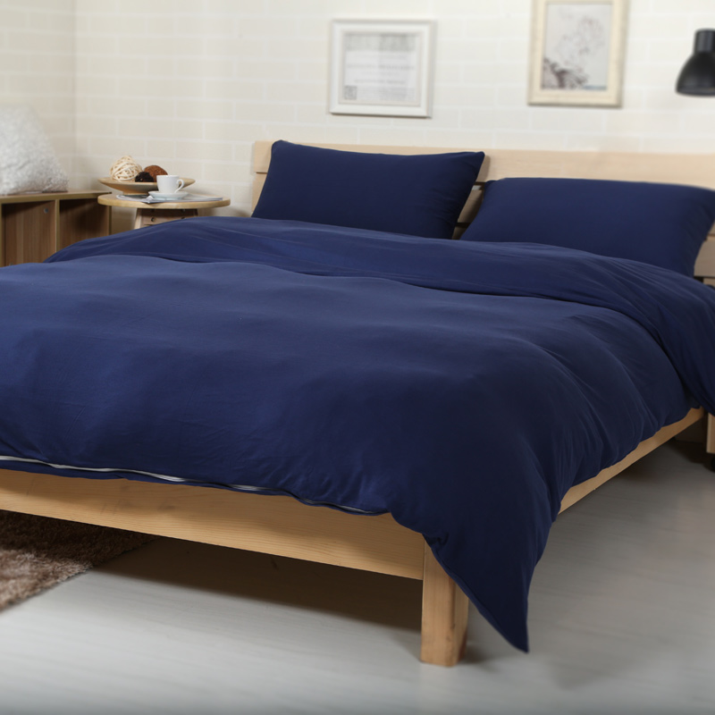 4pcs 100 Cotton Jersey Knitted Fabric Solid Color Navy Blue Duvet Cover Set Dark Soft Ed Bed Sheet In Bedding Sets From Home Garden On