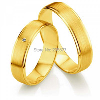 New Arrival his and hers wedding band sets Yellow Gold Plating Mens and womens titanium couples rings