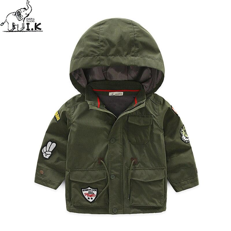 Ik мальчиков зимние теплые флисовые пальто Армейский зеленый детская ветронепроницаемая верхняя одежда дети мода молнии куртка с капюшоном...