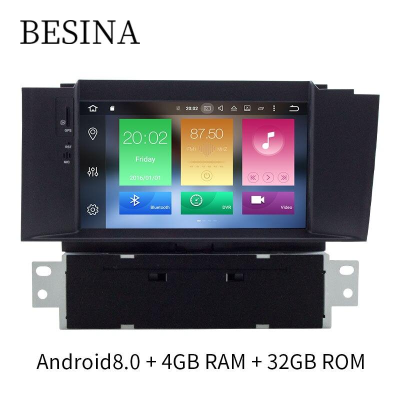 Besina 7 pouce 1 Din Android 8.0 Lecteur DVD de voiture Pour Citroen C4 C4L DS4 Multimédia GPS Navigation WIFI D'octa 8 noyaux 4 gb RAM Radio