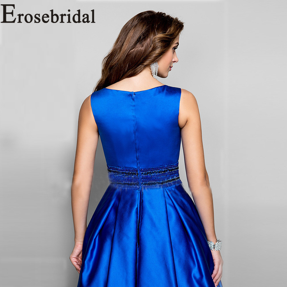 Vestido de noche de satén azul real Vestido largo de fiesta con cuentas vestidos de noche formales para mujer 2019 bata de noche - 5