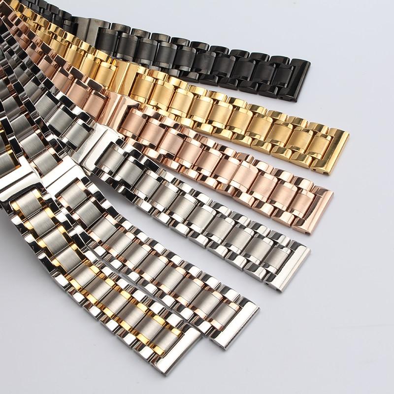 Ersatz Armbänder 18 19 20mm 21mm 22mm Dünn Edelstahl Vollglied Uhrenarmband Zubehör Für Quarzuhren