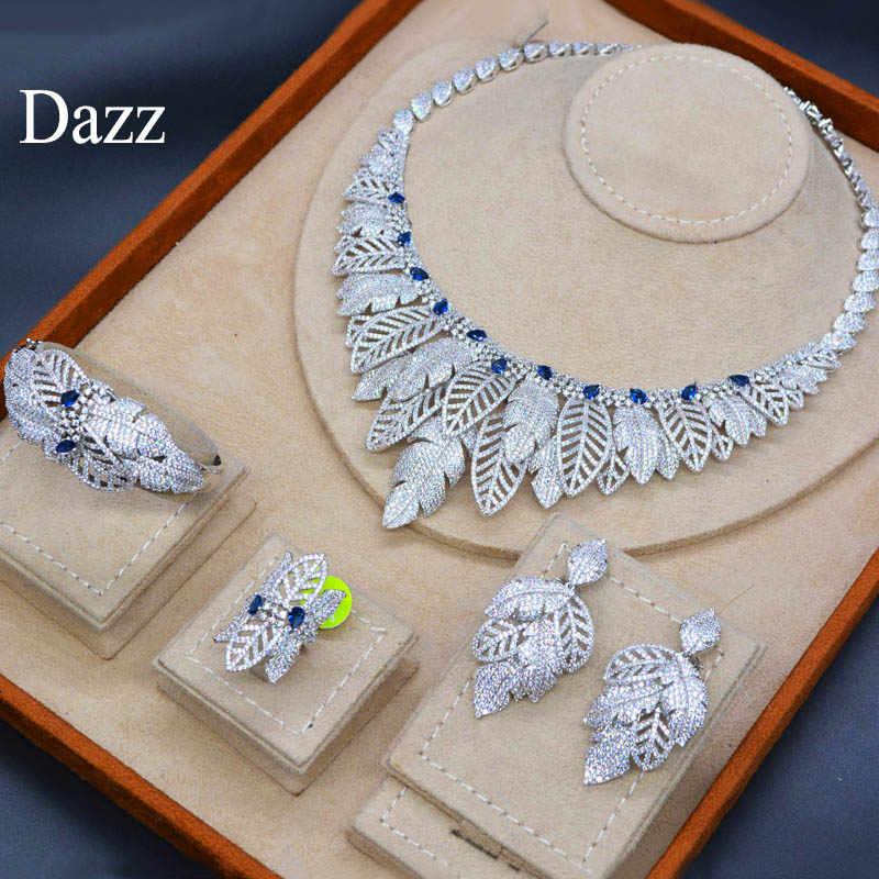 Dazz 4 шт. Роскошные блестящие африканские циркон женские свадебные Naija свадебное ожерелье с кристаллом зеленого цвета серьги, кольцо, браслет комплект ювелирных изделий «Дубай»