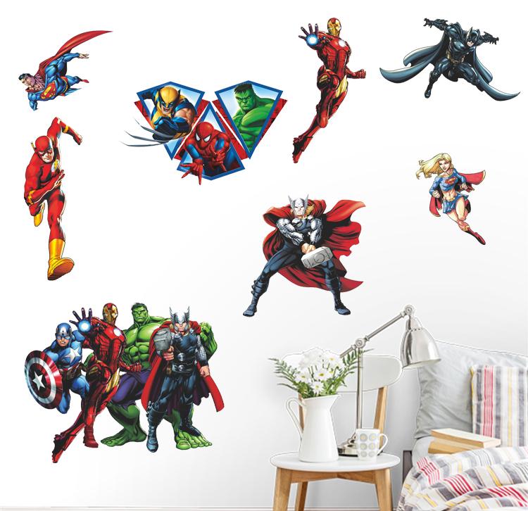 HTB10MD.EuOSBuNjy0Fdq6zDnVXaT - Kids Gift Avenger Iron Man Hulk Justice League Wall Stickers