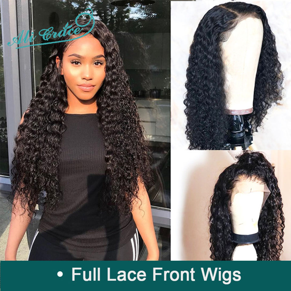 Wigs Human-Hair-Wigs Ali-Grace Deep-Wave Full-Lace Brazilian with Hairline Natural Pre-Plucked