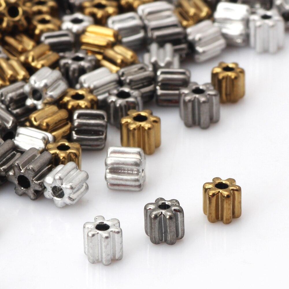 OlingArt 4MM 40g/lot plating Silver/gold/grey Gear shape Glass Seed Beads DIY Necklaces/bracelets/earrings jewelry making