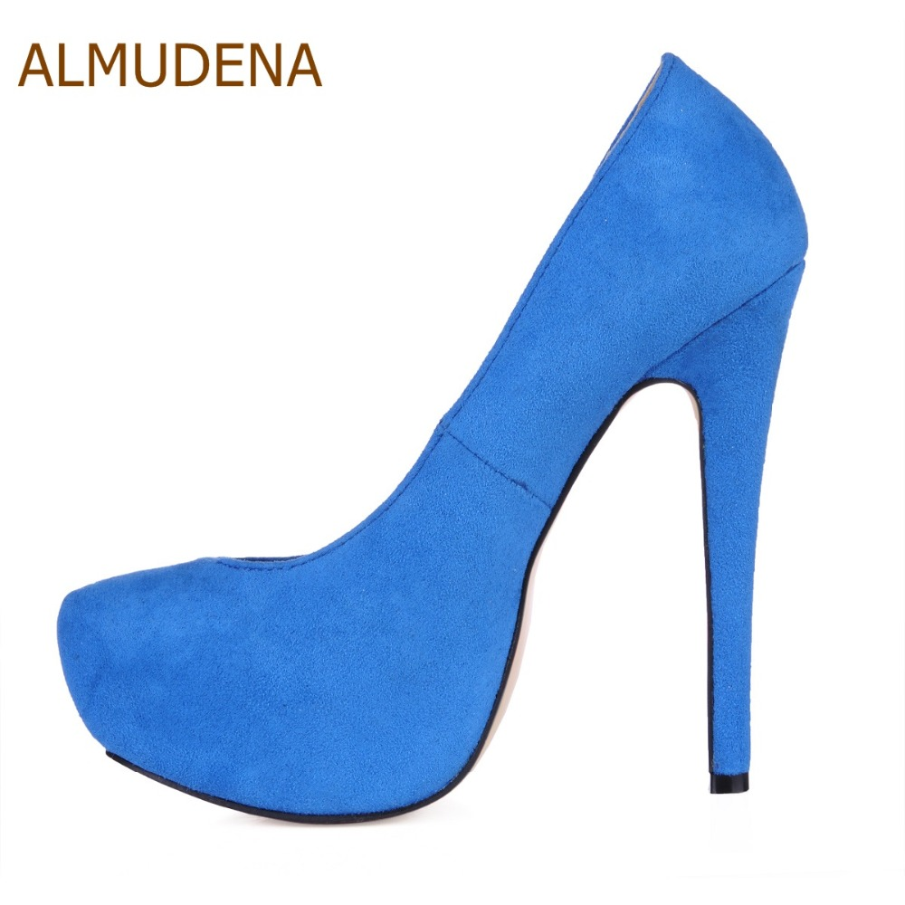 ALMUDENA New Arrival Wine Red Suede Platform Dress Pumps Thin High Heels Burgundy Blue Green Party Shoes Ultra High Heels - 3