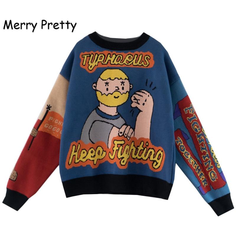 Женский Теплый свитер Merry Pretty, теплый свитер с забавными рисунками из мультфильмов, жаккардовый пуловер с буквенным принтом, вязаные топы, 2019|Водолазки|   | АлиЭкспресс
