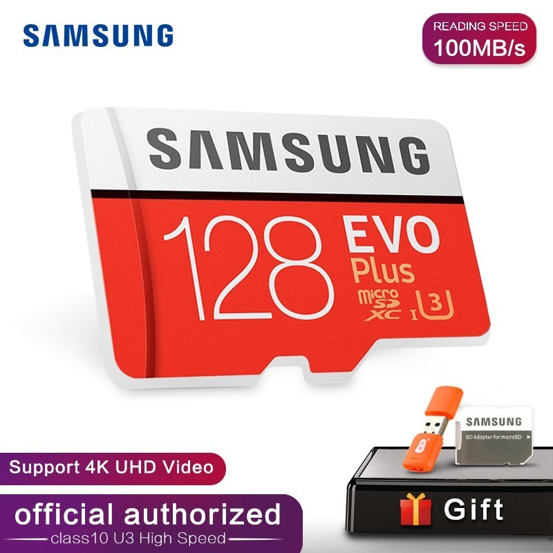 SAMSUNG Memory Card MicroSD 32GB 64GB 128GB 256GB 512GB U3 SDHC SDXC Grade EVO+ Class 10 C10 UHS TF SD Cards Trans Flash Microsd