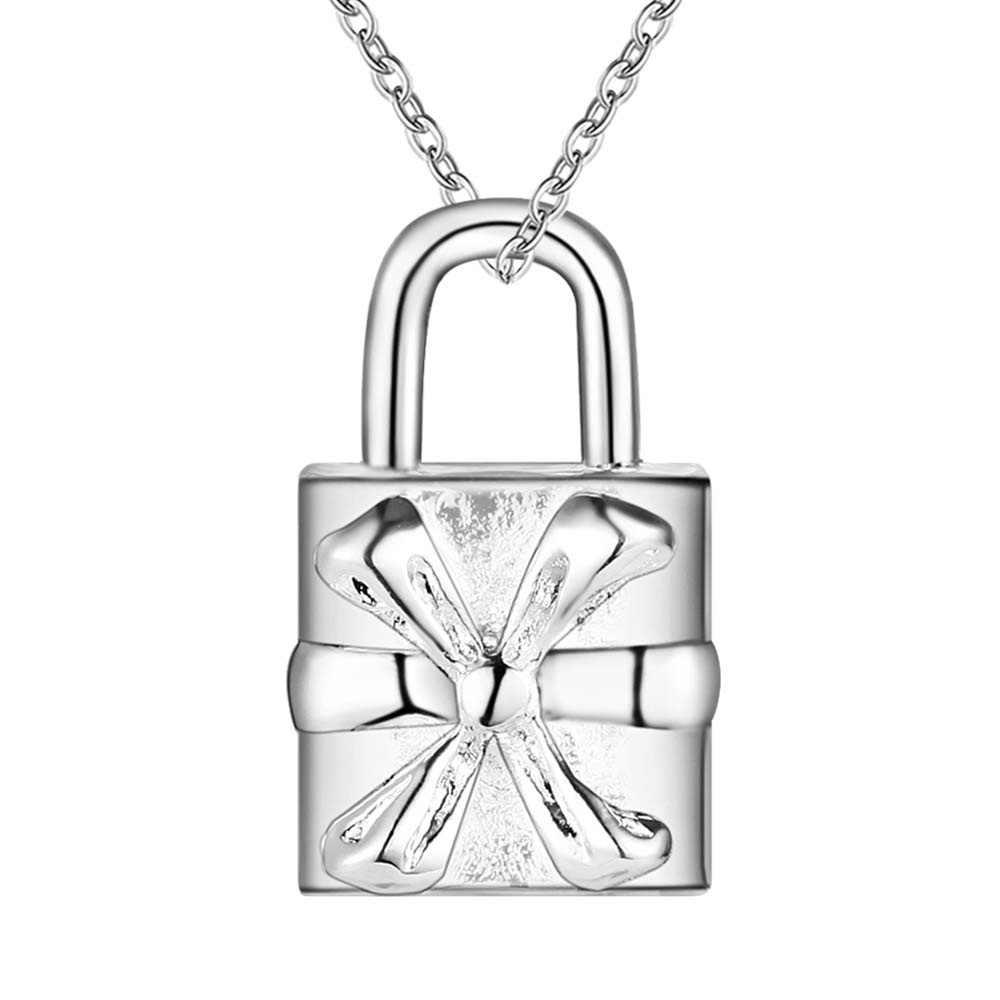 En gros argent plaqué charme bijoux collier, livraison gratuite 925 estampillé mode bijoux pendentif serrure AN262/azsajqza
