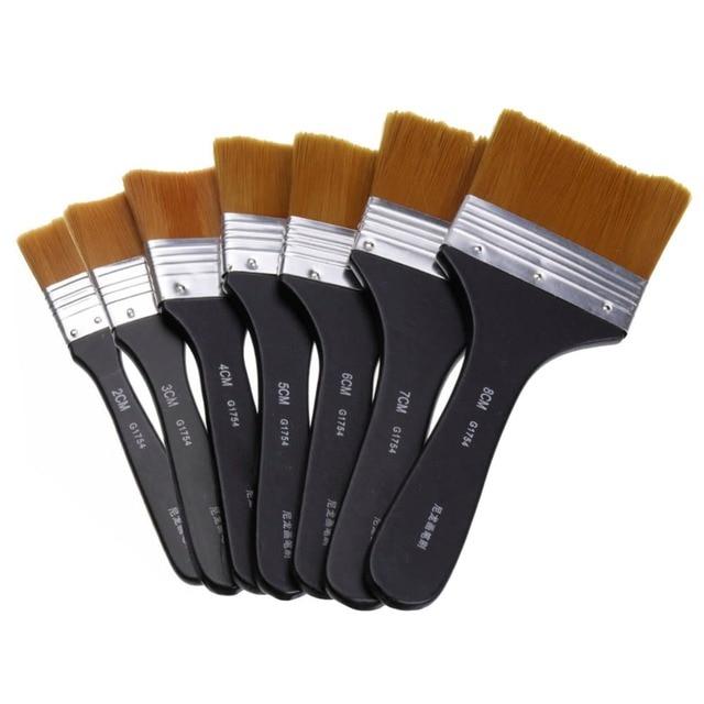 1pc Flat Tips Artist Brush Nylon Hair Oil Painting Watercolor Paint Art Pen 7 Models