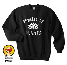 New Unisex Vegetarian Vegan POWERED BY PLANTS Tumblr Hipster Joke Swag Crewneck Sweatshirt More Colors XS - 2XL-A958