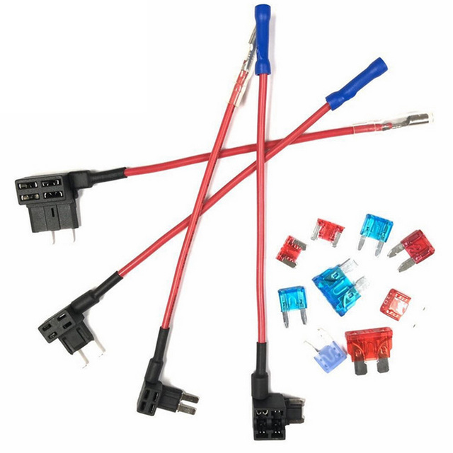 12V MINI SMALL MEDIUM Size Car Fuse Holder Add-a-circuit Piggy Back Fuse Tap Adapter with 10A Micro Mini Standard ATM Blade Fuse
