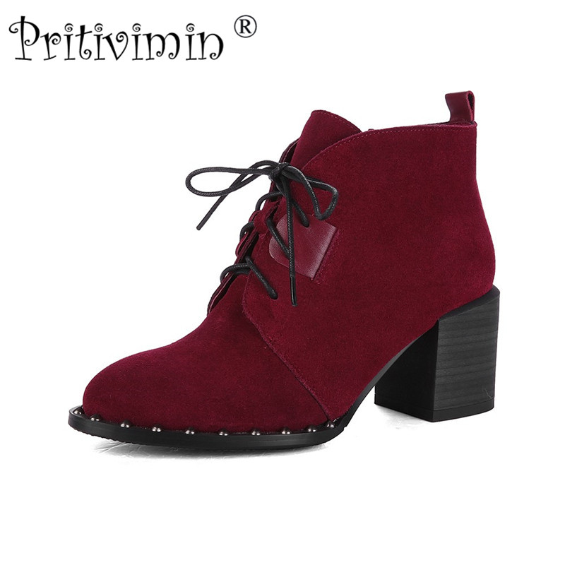 Pritivimin 2018 Spring women cowhide short boots ladies thick heel boots girl fashion lace-up rivet pointed winter shoes FN161 camel camel boots cowhide thick heel rivet velvet fashion pointed toe boots vintage casual thermal boots