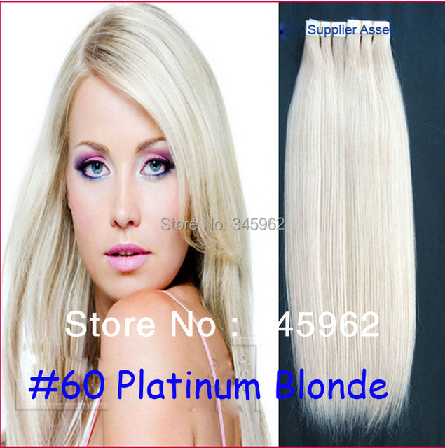 Cheap 60 Platinum Blonde Hair Peruvian Hair Straight Skin Weft Tape