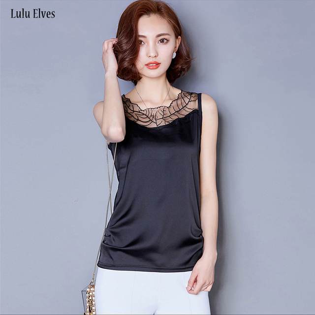 695ff6590a5 Women Silk Vest Plus Size Summer New Satin Tank Tops Lace Lollow Mesh  Stitching Bottoming Shirt Out Wear Loose Sleeveless Vest