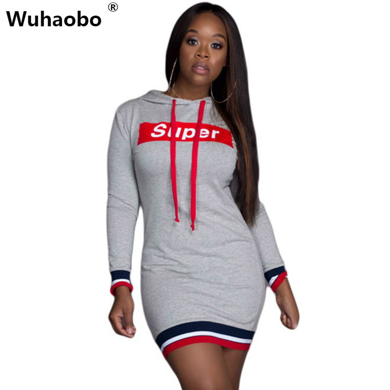 Wuhaobo 2017 Autumn Casual Sweatshirts Dress Women Long Sleeve Letter Patchwork Sweater Mini Hoodies Dresses Female Pullover