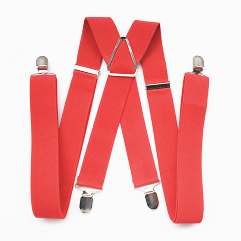 BD054-L XL XXL Size Adult Suspender 3.5 Cm Width 4 Clips On Women Brace Adjustable Elastic X Back Pants Suspender Men Red Color