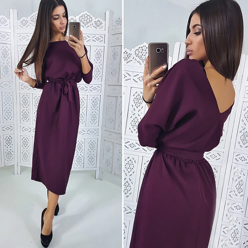 Spring Autumn Women Fashion Bodycon Dresses Sashes Pencil Dress Long Sleeve Sexy Backless Dress Girls Casual Dress