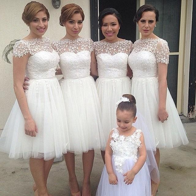 Princess White Sheer High Neck Short Sleeves Bridesmaid Dresses Beaded Tulle With Lace Knee Length A
