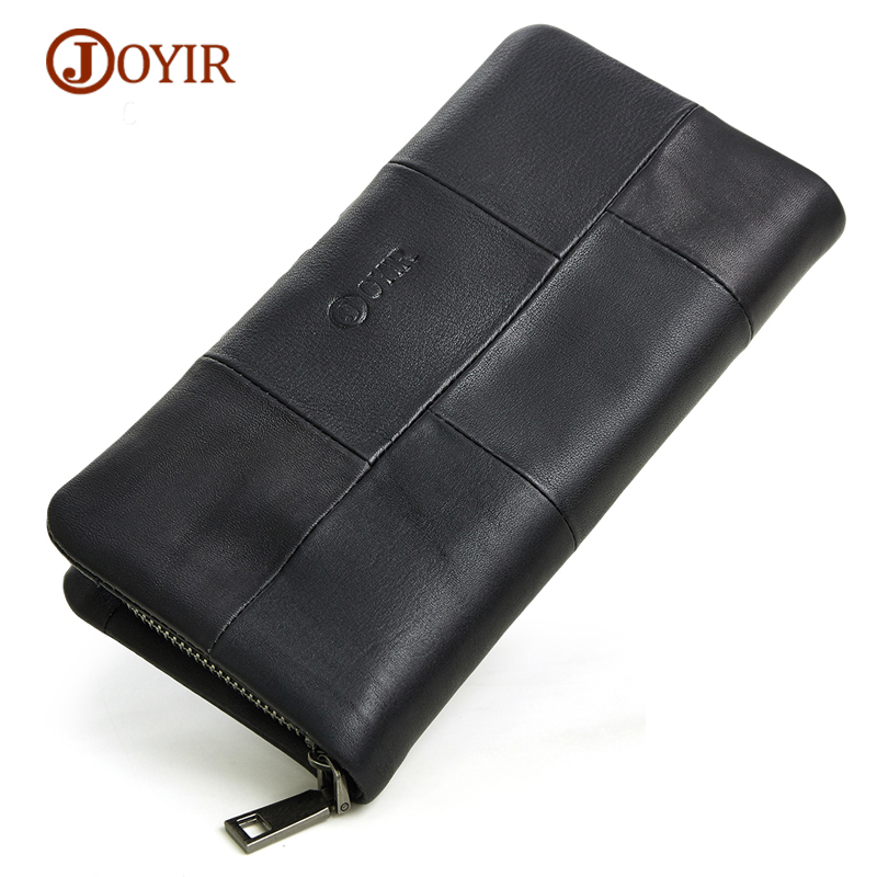 JOYIR Genuine Leather Men Wallets Vintage Zipper Long Wallet Male Men Clutch Bags Slim Coin Purse Men leather Wallet Card Holder joyir men double zipper wallets genuine leather men wallets business clutch wallet bag male wallet coin purse card holder