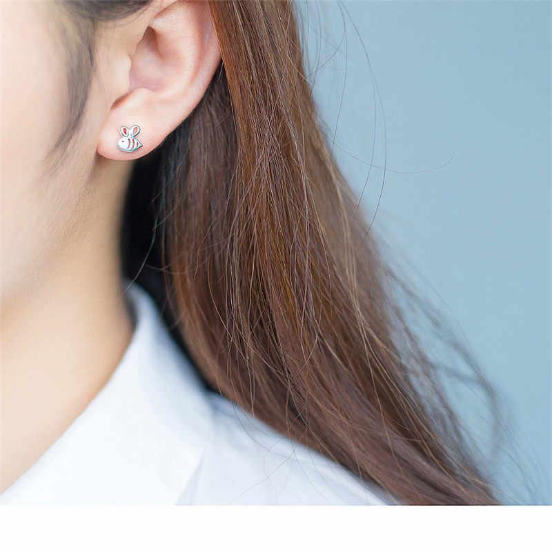 Inzatt Minimalis Logam Berongga Lebah Stud Earrings 925 Sterling Silver Fashion Perhiasan untuk Wanita Pesta Ulang Tahun Aksesoris Hadiah