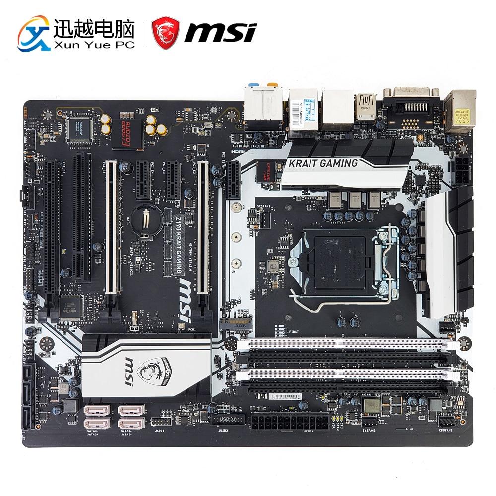 MSI Z170 KRAIT GAMING Desktop Motherboard Z170 LGA 1151 14nm i3 i5 i7 DDR4 64G M.2 SATA3 USB3.0 DVI HDMI ATX msi z170a sli plus original new desktop motherboard z170 socket lga 1151 i3 i5 i7 ddr4 64g atx