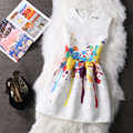 2016 Women Summer Dress Colorful Printting Jacquard Sleeveless Tank A-Line Dresses for Ladies Plus Size Vestido Femenino