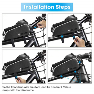 Image 5 - Bike Bicycle Waterproof Cell Phone Bag Holder MTB Front Frame Tube Bag Case 6.0 inch Rainproof Saddle Bag Bicycle Accessories