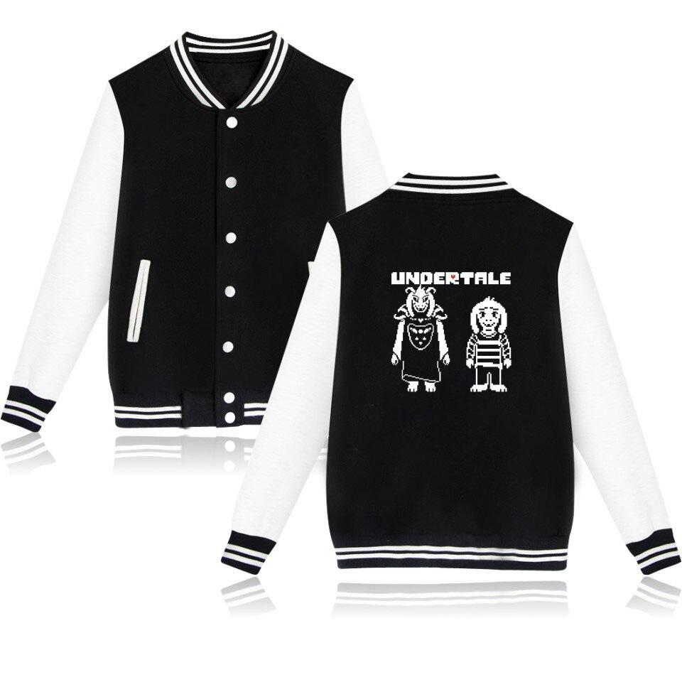 Hip Hop Gamer Sweatshirt Undertale Design Baseball Jacket For Men/Women Fashion Brand Clothing Skulls Pattern Hoodies Tracksuit